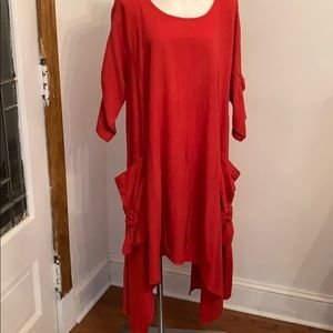 Red 100% Cotton Dress Big Pockets Free Size one Sz